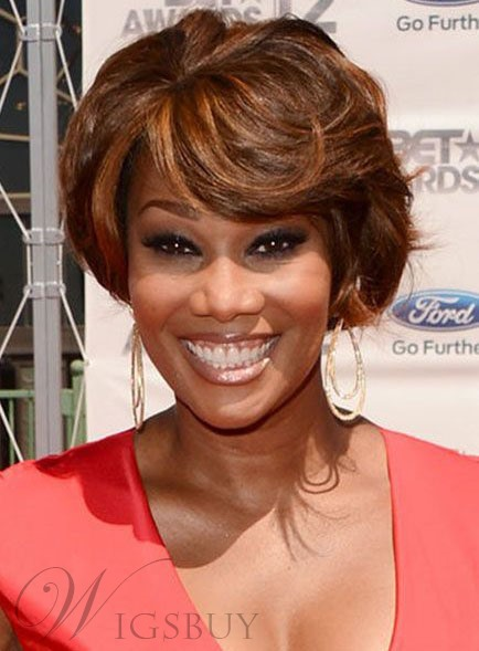 Short Wave African American Synthetic Capless Wigs 8 Inches