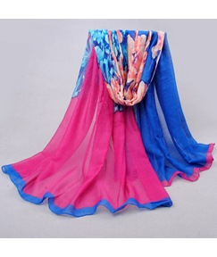 Blooming Flower Printed Women's Chiffon Scarf