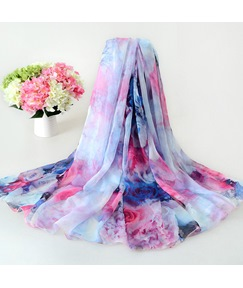 Big Flower Printed Chiffon Scarf