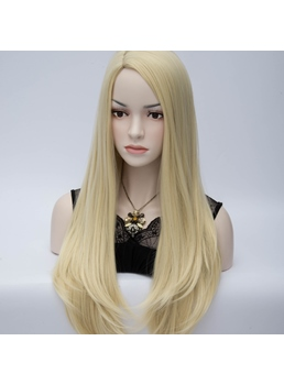 Light Blonde U-Style Long Straight Anime Hair Cosplay Party Wig 28 Inches