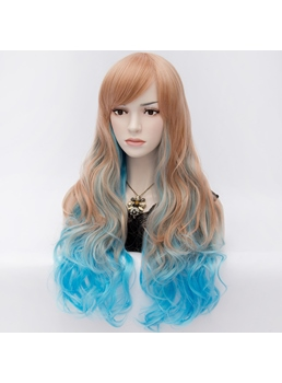 Fabulous Harajuku Style Long Wavy Brown Cosplay Wig with Blue Highlights 28 Inches