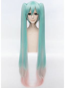Miku Sakura Style Cosplay Long Green and Pink Wig 40 Inches