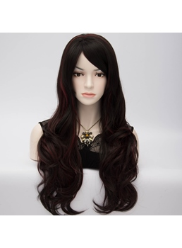 Duchess-Style Long Wavy Brown Cosplay Party Wig with Red Highlights 24 Inches