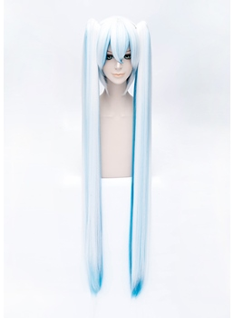 Vocaloid Cosplay White and Blue Long Wig 42 Inches