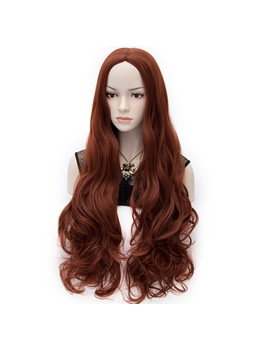 Fabulous Central-Parting Super Long Wavy Ruby Hair Wig 32 Inches