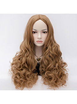 U Part Movie Style Long Wavy Brown Hair Anime Cosplay Wig 24 Inches