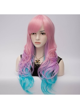 Eye-Catching Long Wavy Pink-and-Blue Cosplay Party Wig 28 Inches