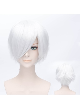 Short Bob Straight White Wig 12 Inches for Cosplay