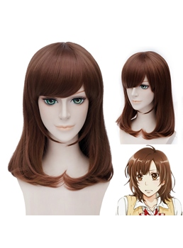 Shinohara Erika Style Mid-length Brown Wig 16 Inches for Cosplay
