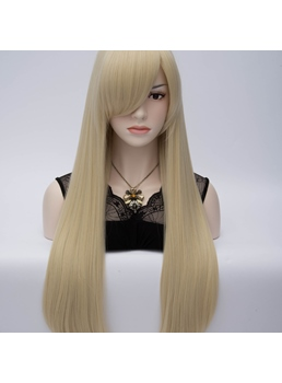 Light Blonde Long Straight Anime Hair Party Wig with Side Bangs 28 Inches