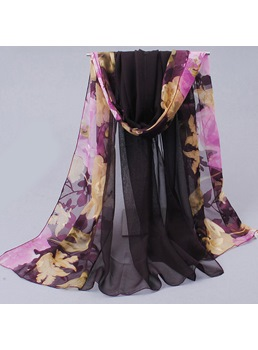 Bold Color Floral Printed Chiffon Scarf