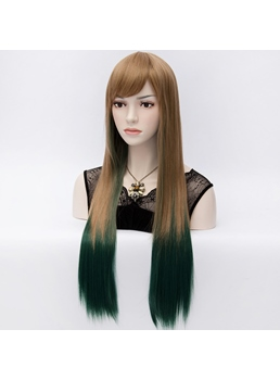 Hot Fashion Gradient Long Straight Party Wig of Brown and Blackish Green 28 Inches