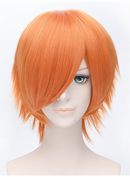 Popular Cosplay Wig Orange Short Straight 12 Inches