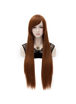 Super Long Straight Brown Costume Cosplay Hair Full Wig 32 Inches