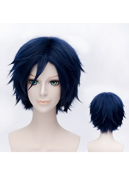 Cool Black-blue Short Wig for Cosplay 12 Inches