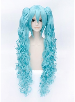 Lovely Cosplay Blue Green Long Wavy Wig 32 Inches