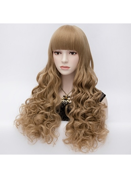 Kawaii Long Curly Brown Full Hair Party Wig with Front Bangs 28 Inches