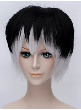 Tokyo Ghoul Sasaki Se Cosplay Short Black-white Wig 12 Inches
