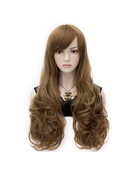 Fashionable Natural Long Curly Brown Hair Cosplay Wig 28 Inches