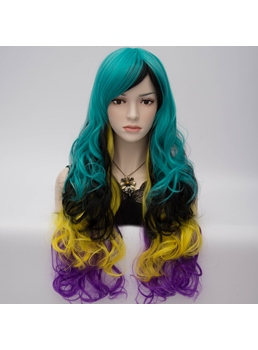 Harajuku Fashion Rainbow Sexy Bright-Colored Long Wavy Wig 28 Inches