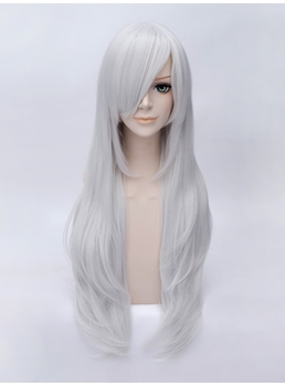 Cosplay Long Layered Wavy Silver Wig 28 Inches