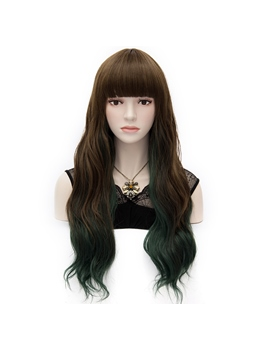 Japanese Harajuku Lolita Long Wavy Wig with Front Bangs 24 Inches