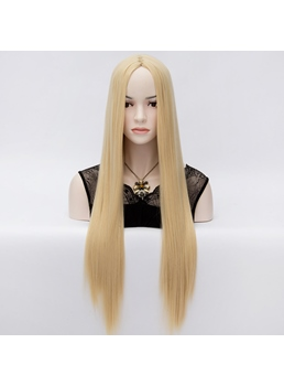 High Quality Fashion Central Parting Long Straight Blonde Hair Wig 32 Inches