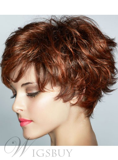 Graceful Short Feathered Pixie Haircut with Wispy Bangs Synthetic Hair Capless Wig 8 Inches