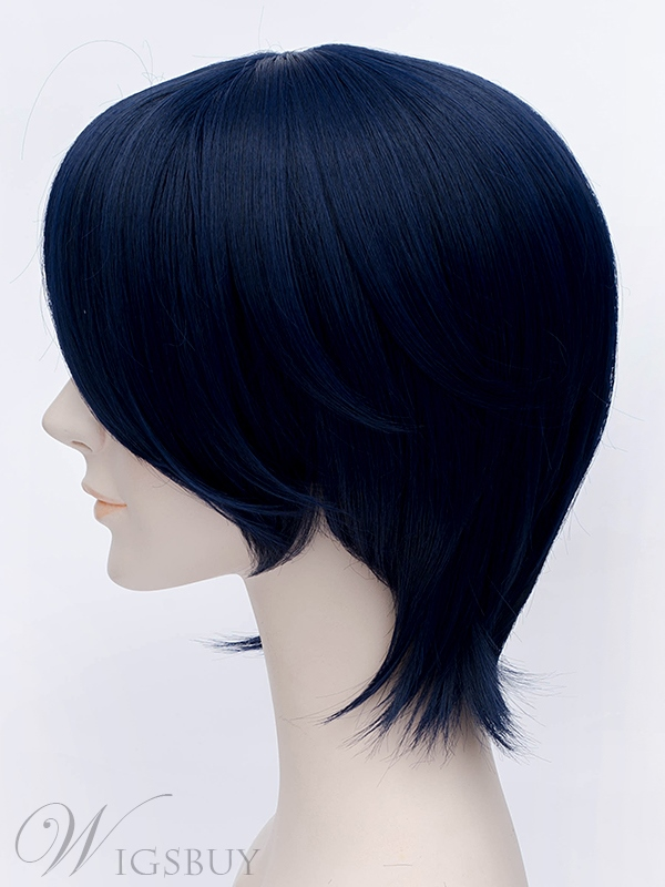 Bobstyle Short Black Straight Wig for Cosplay 12 Inches