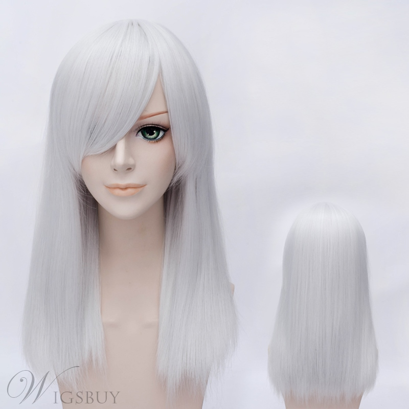 Mid-length Straight Sliver Wig for Cosplay 20 Inches