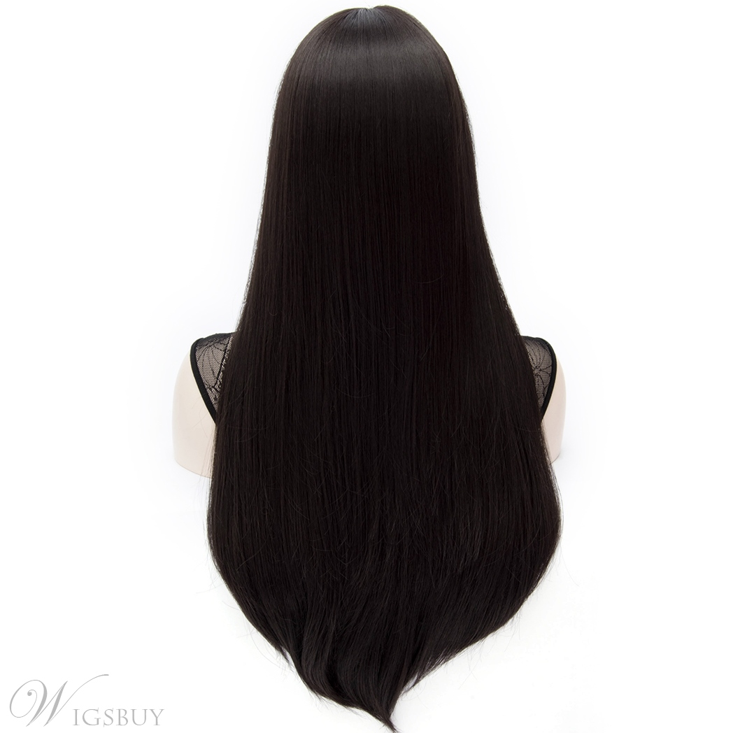 Sweet Kaye Mid-Length Long Straight Black Hair Wig 28 Inches