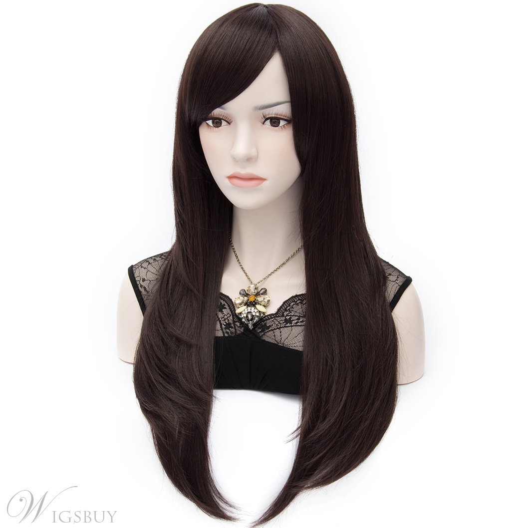 Demi Heat-Resistant Natural Straight Long Black Wig 24 Inches