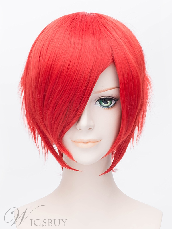Cosplay Short Bob Straight Red Wig 12 Inches