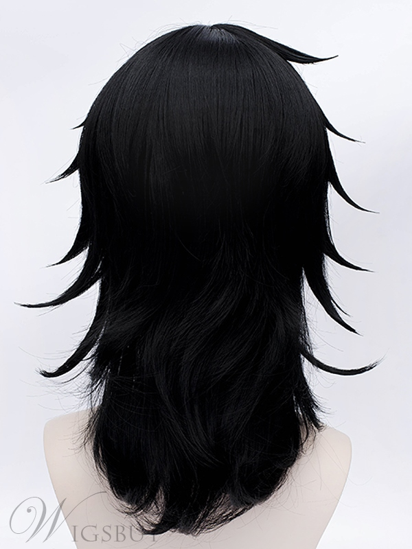 Kuroki Tomoko Black Layered Mid-length Wig 18 Inches