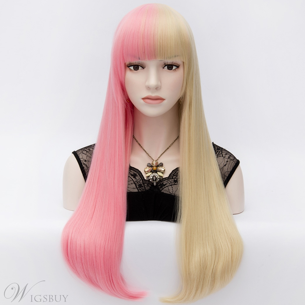 Harajuku Fashion Two-Tone Long Straight Pink-and-Blonde Wig 32 Inches