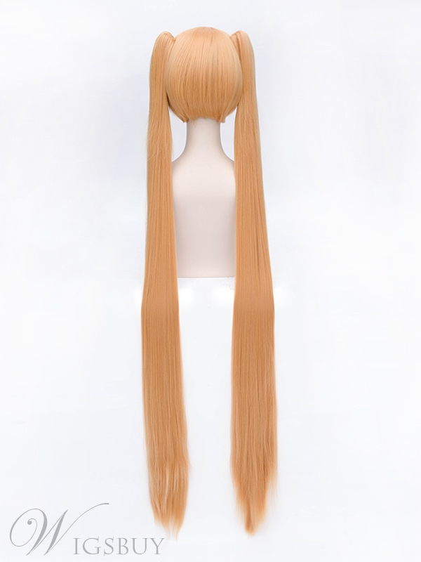 Beautiful Hatsune Miku Long Golden Straight Ponytails 40 Inches