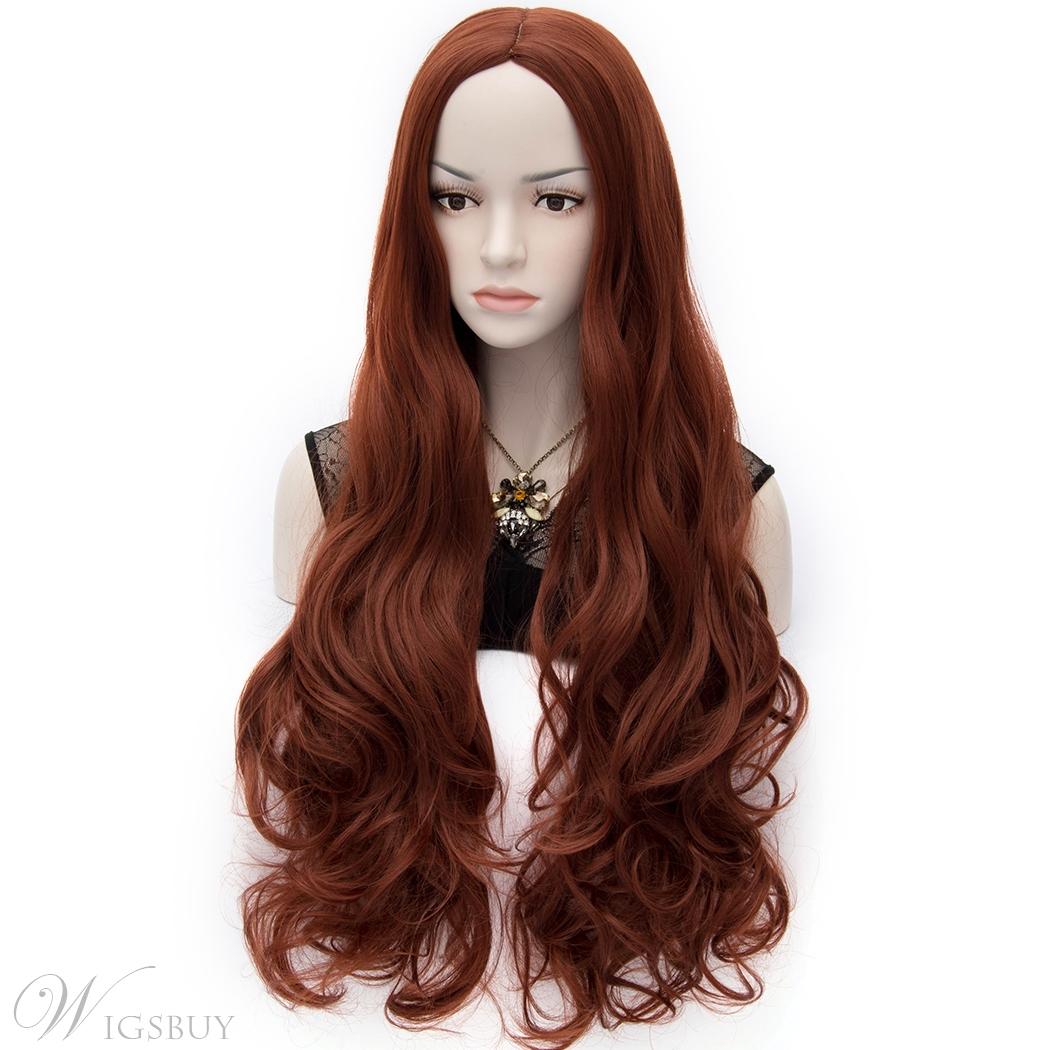 Fabulous Central Parting Super Long Wavy Ruby Hair Wig 32