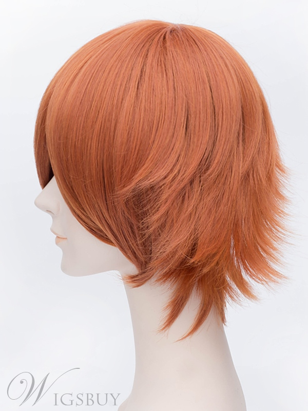 Handsome Short Straight Orange Wig 12 Inches for Cosplay