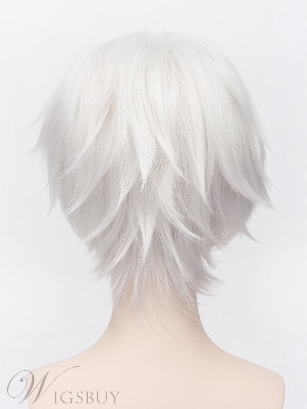 Great Silver Short Straight Cosplay Wig 12 Inches