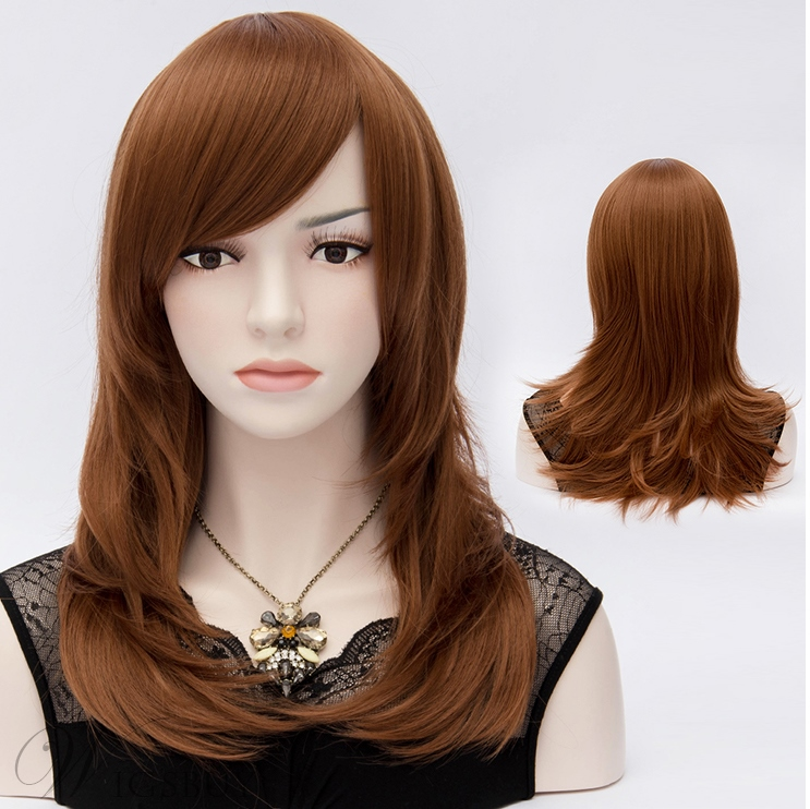 Graceful Mid-Length Straight Brown Hair Wig with Feathered Ends 20 Inches
