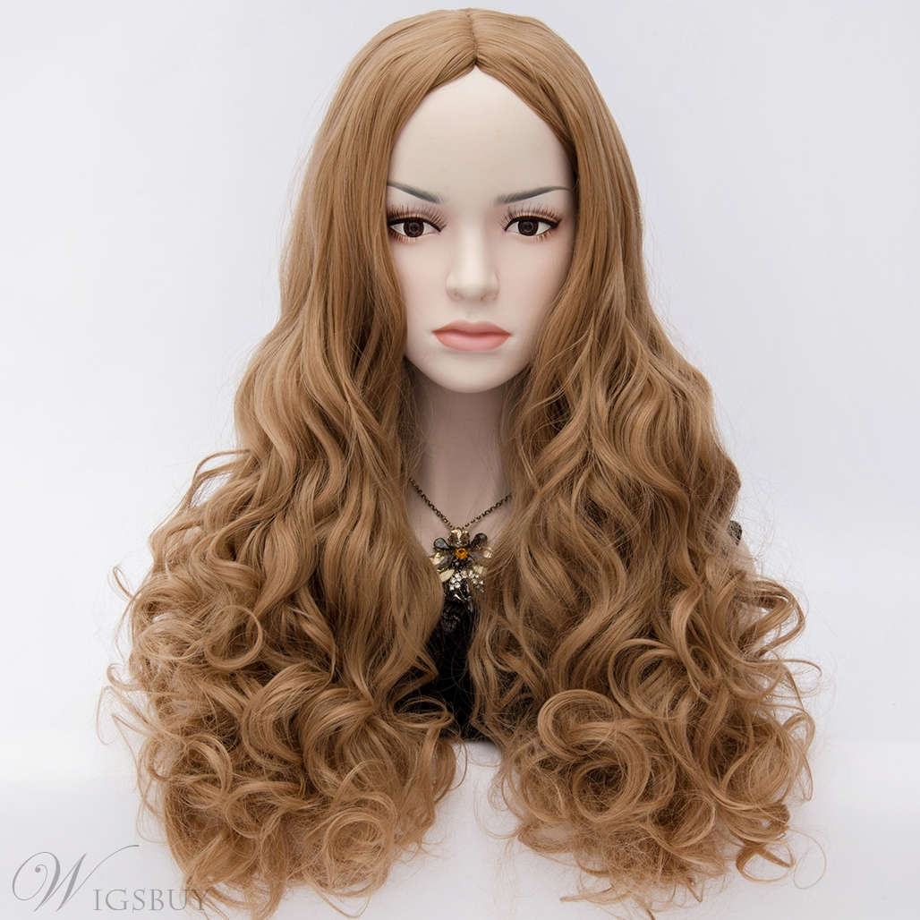 U Part Movie Style Long Wavy Brown Hair Anime Cosplay Wig ...