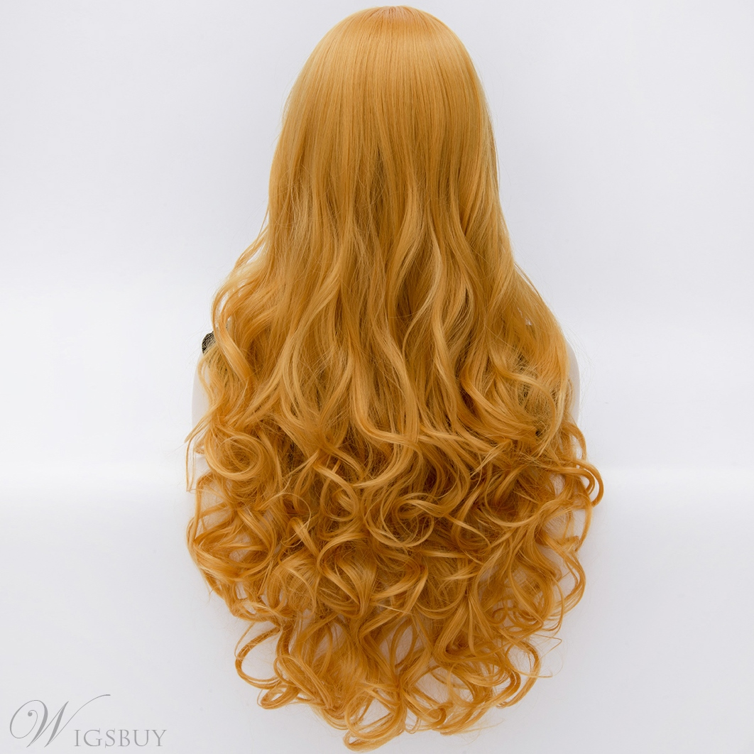 Gorgeous Long Spiral Curly Golden Full Hair Wig 28 Inches