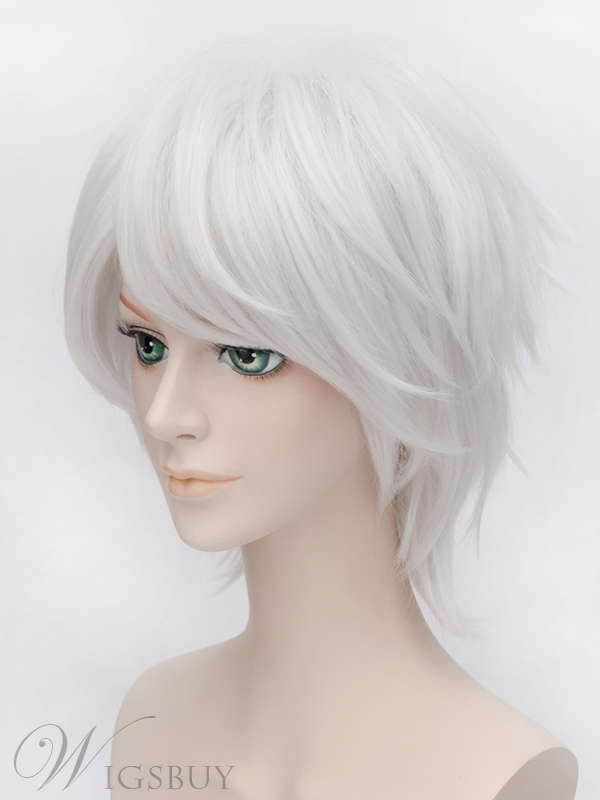 Axis Powers Black Talia Cosplay Silver Short Wig 12 Inches