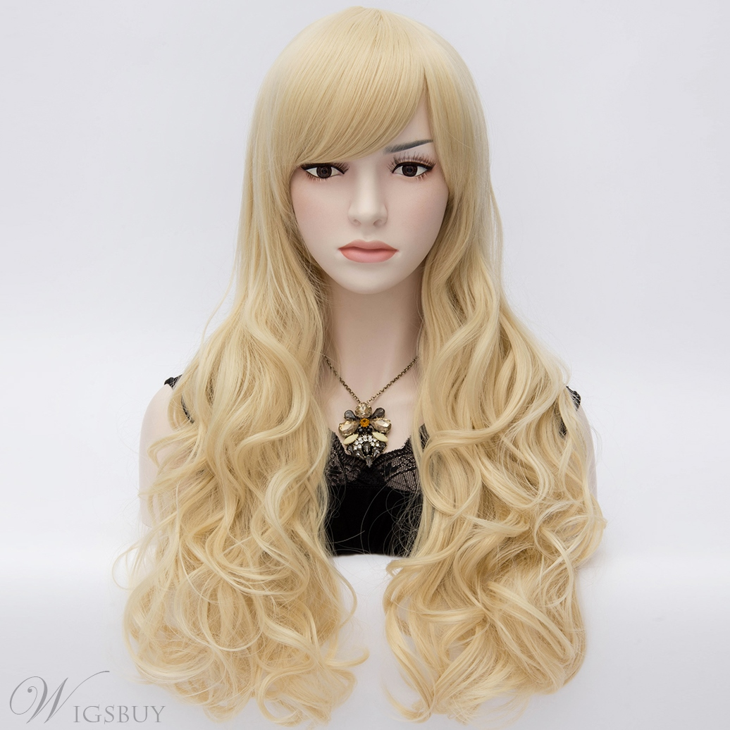 Fashionable Long Spiral Wavy Pale Blonde Wig with Side Swept Bangs 28 Inches