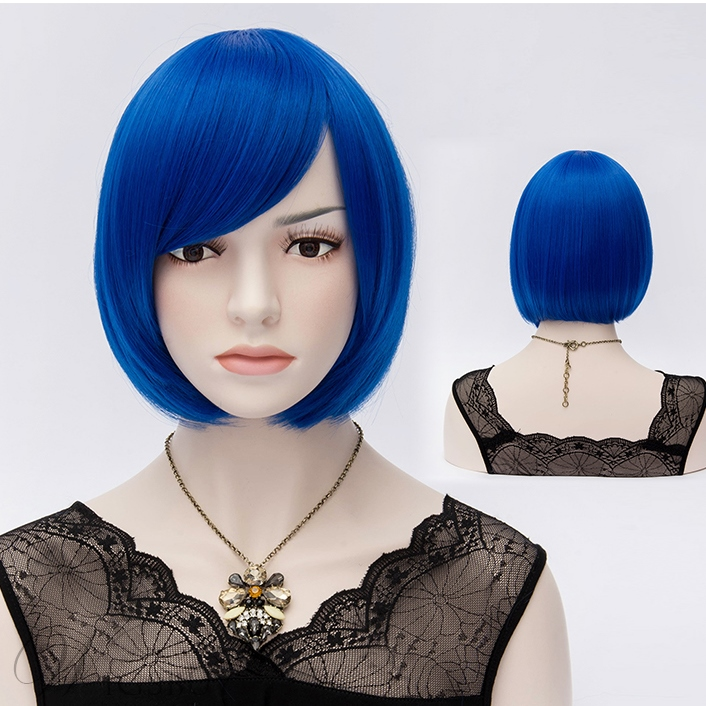 Royal Blue Straight Flapper Bob Cosplay Party Wigs 10 Inches