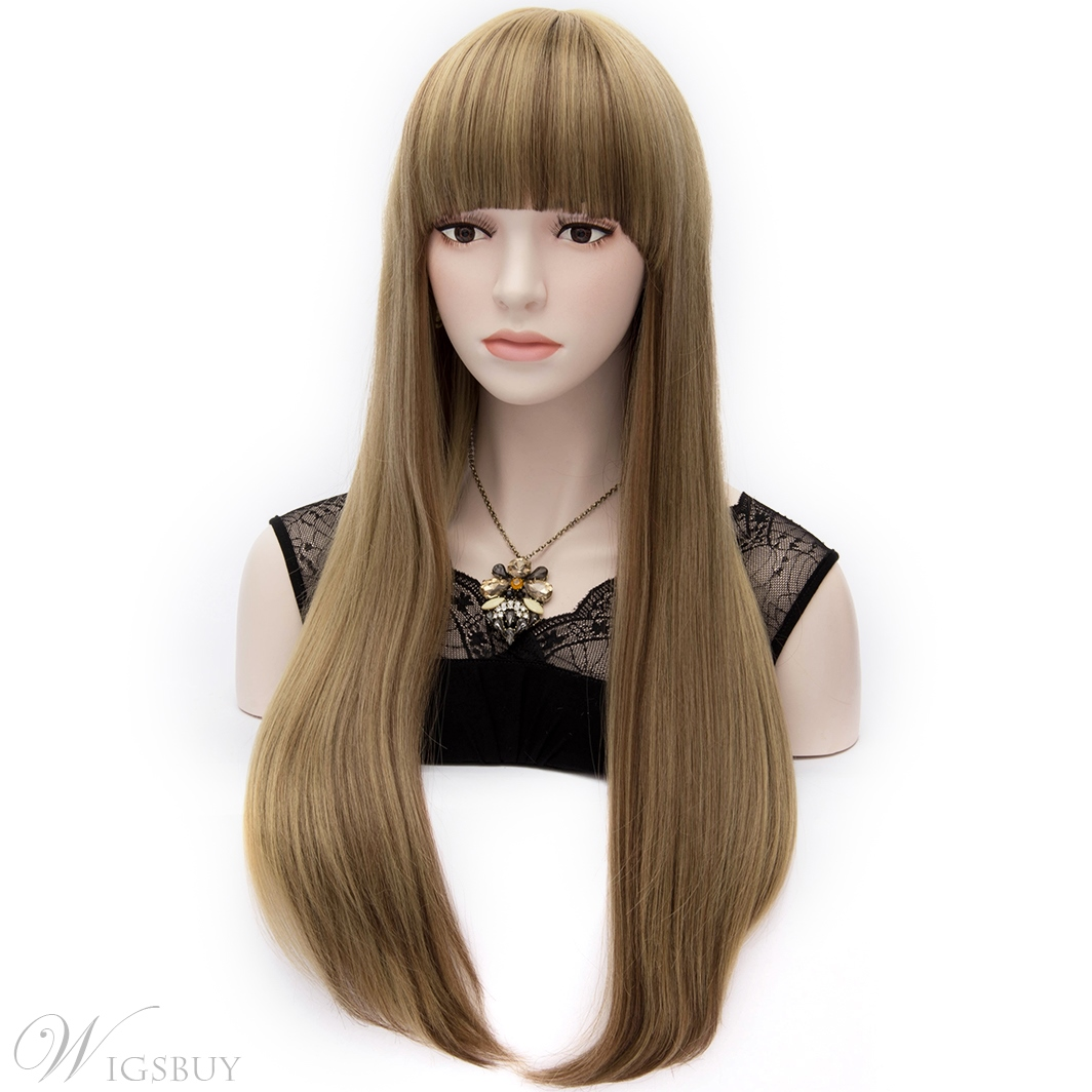 European Style Mixed Colored Long Straight Party Wig With