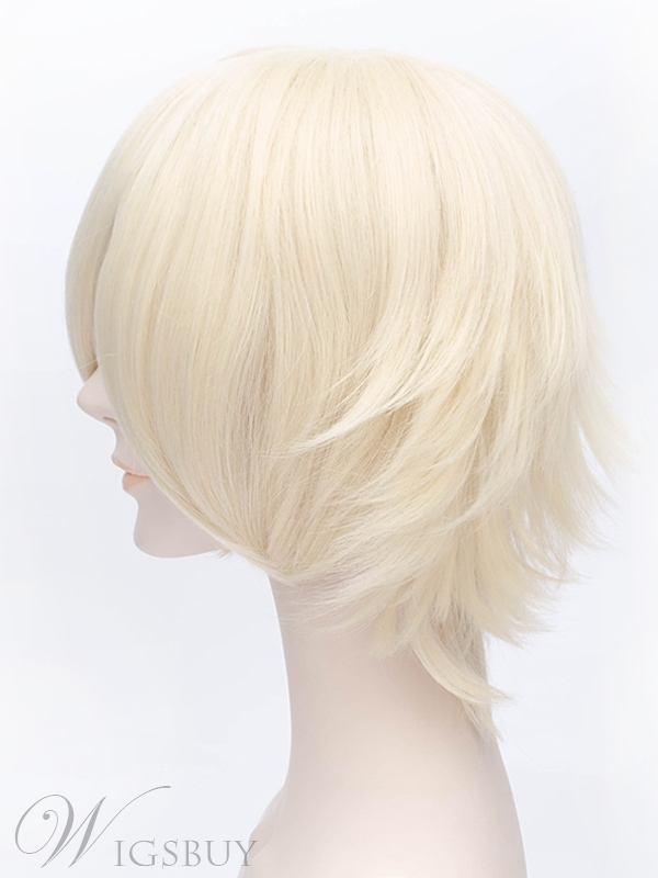 Cosplay Short Straight Light golden Wig 12 Inches