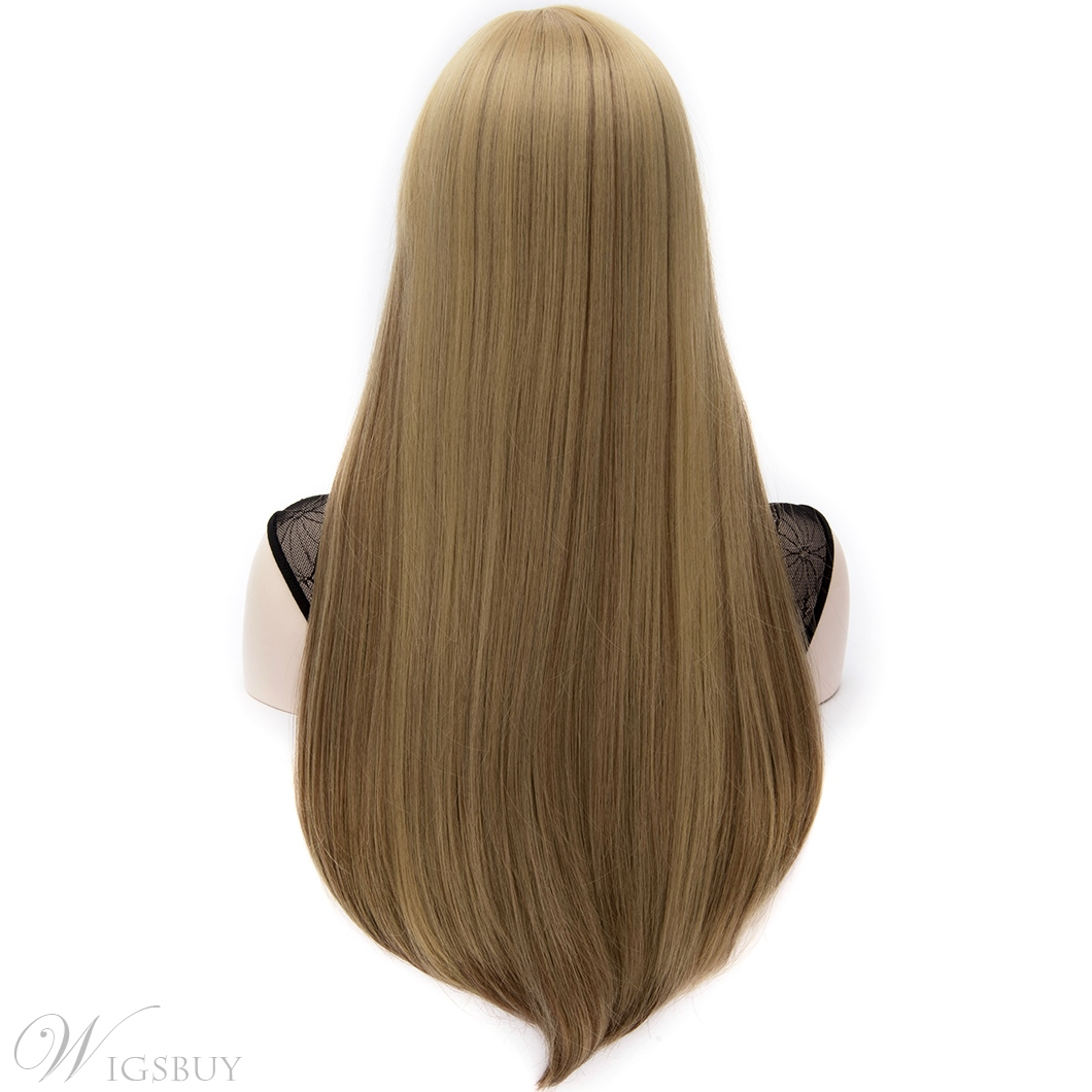 European Style Mixed Colored Long Straight Party Wig with Front Bangs 28 Inches