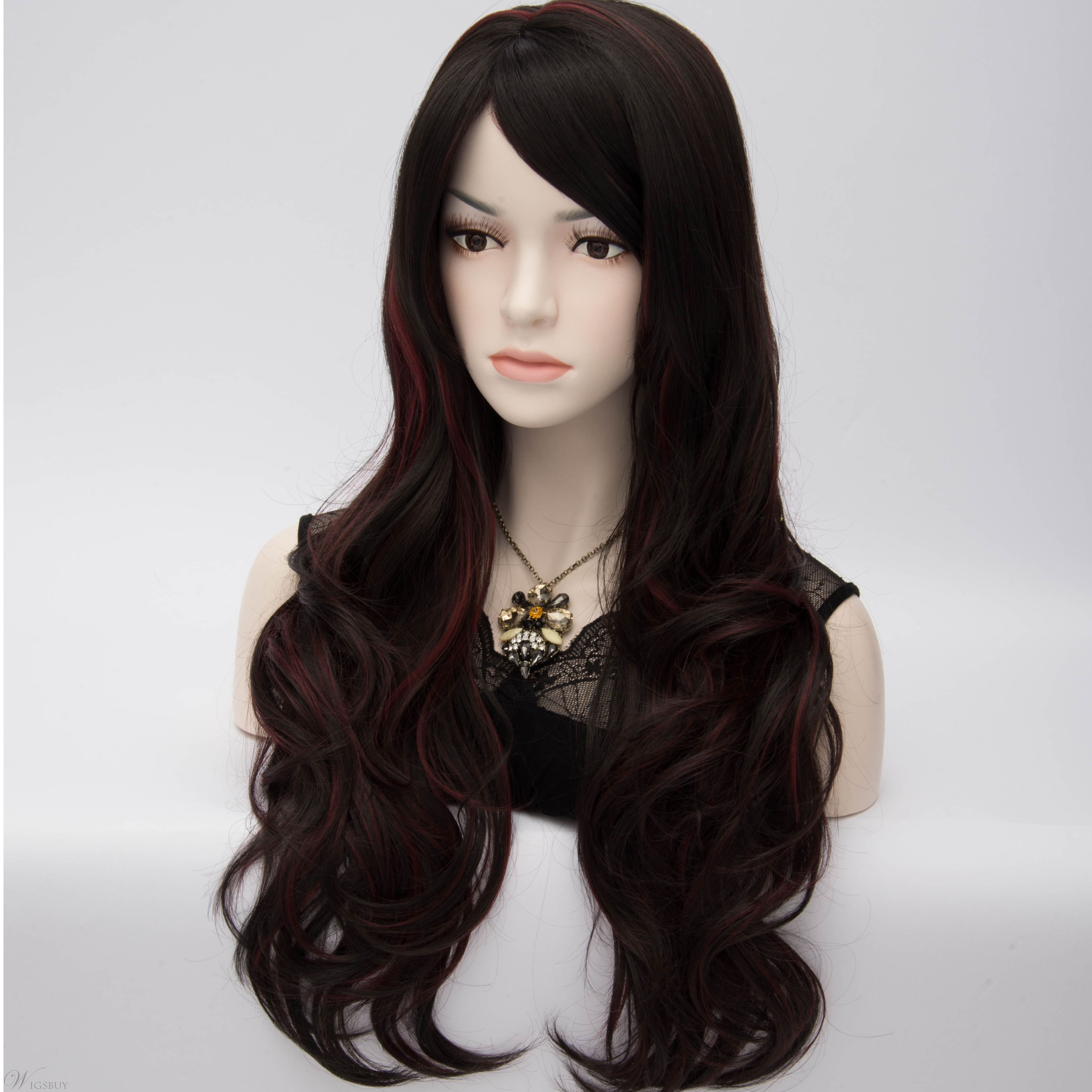 Duchess Style Long Wavy Brown Cosplay Party Wig With Red