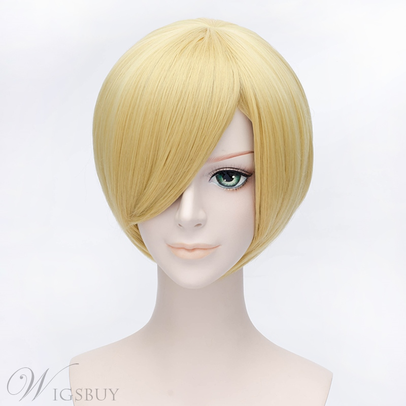One Piece Sanji Golden Short Straight Wig 12 Inches